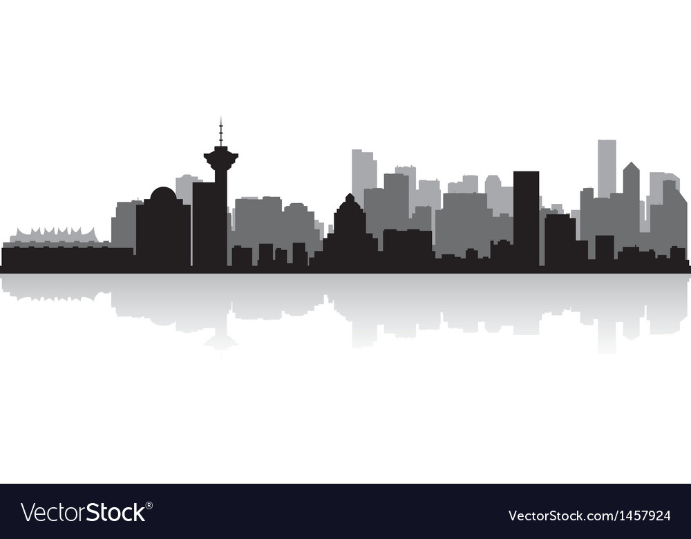 Vancouver canada city skyline silhouette vector | Price: 1 Credit (USD $1)
