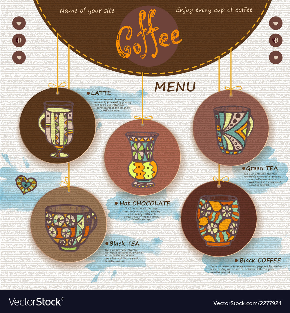 Web site design decorative cup of coffee vector | Price: 1 Credit (USD $1)
