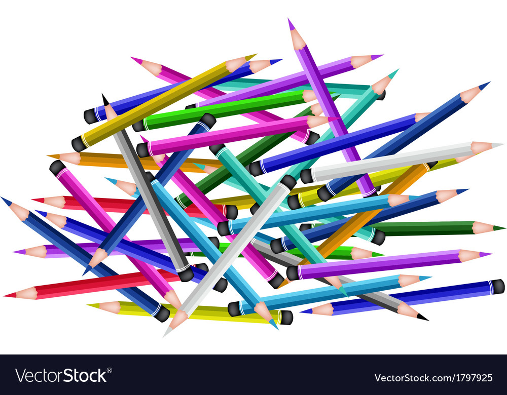 A group of colored pencils on white background vector | Price: 1 Credit (USD $1)