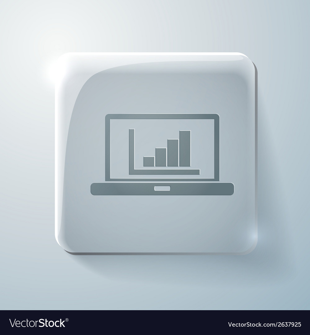 Glass square icon laptop with symbol diagram vector | Price: 1 Credit (USD $1)