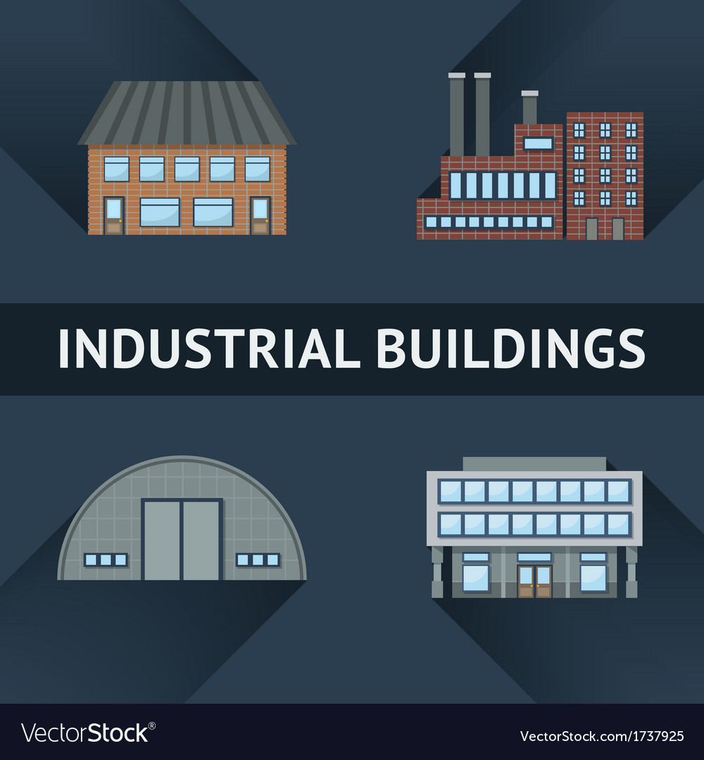 Industrial and business building icons vector | Price: 1 Credit (USD $1)