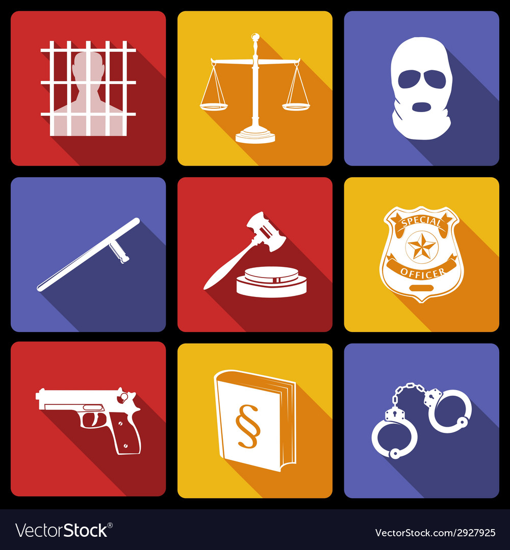 Law and justice icons flat vector | Price: 1 Credit (USD $1)