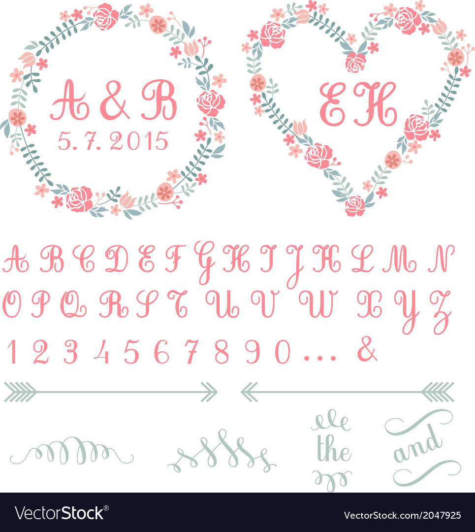 Monogram in floral frames set vector | Price: 1 Credit (USD $1)