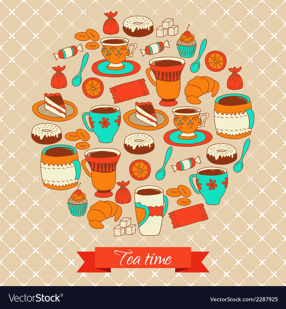 Round pattern with tea coffee and sweets vector | Price: 1 Credit (USD $1)