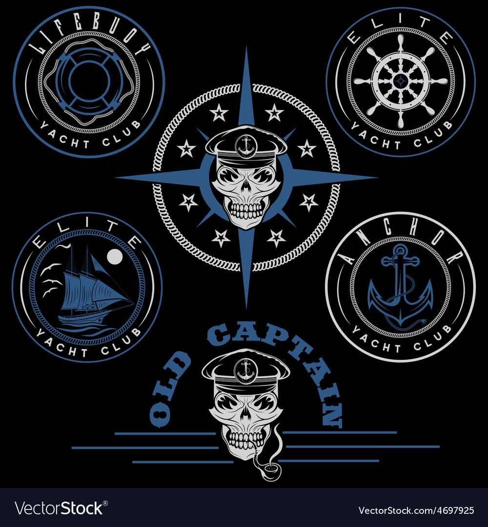 Set of vintage labels with boat captain skull vector | Price: 1 Credit (USD $1)