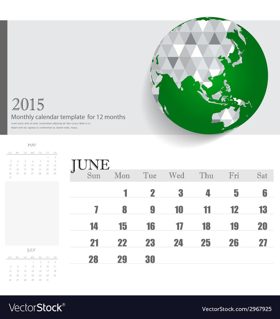 Simple 2015 calendar june vector | Price: 1 Credit (USD $1)