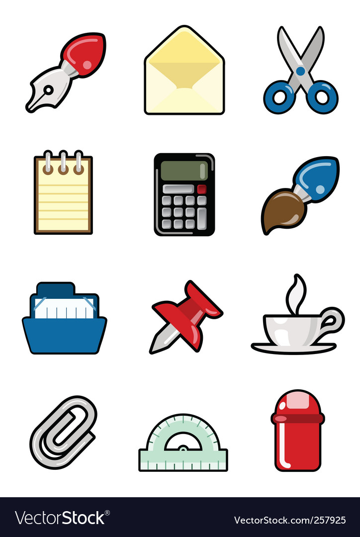 Stationery object set vector | Price: 1 Credit (USD $1)