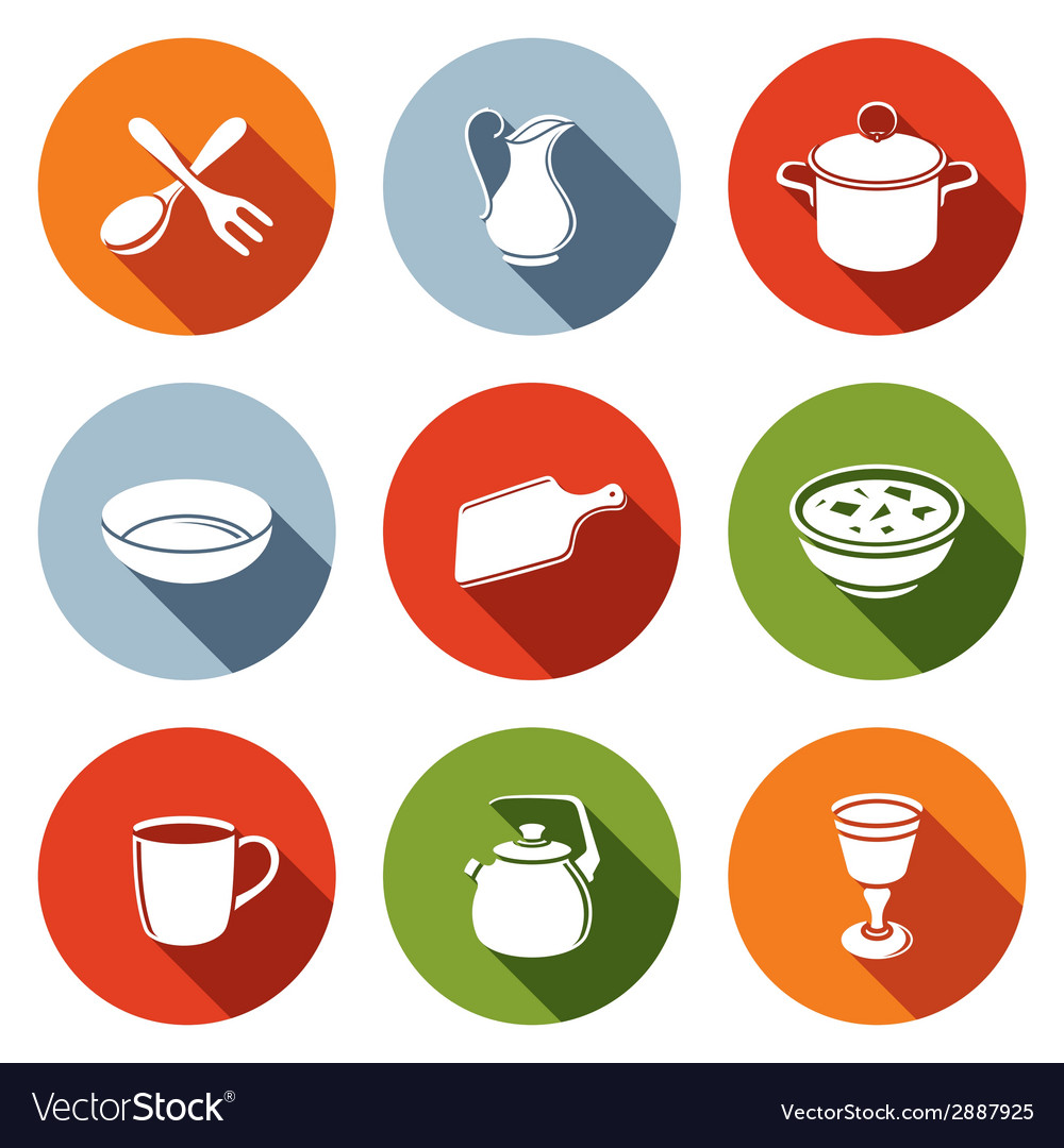 Tableware icons set vector | Price: 1 Credit (USD $1)