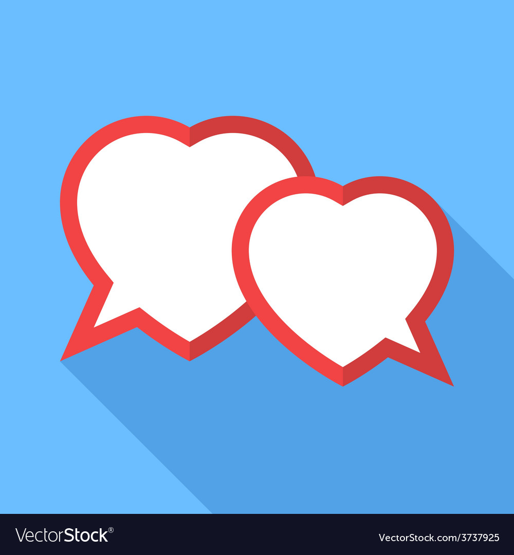 Two hearts speesh bubble flat vector   Price: 1 Credit (USD $1)