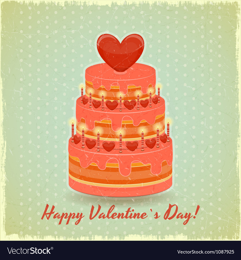Valentines cake on vintage background vector | Price: 1 Credit (USD $1)