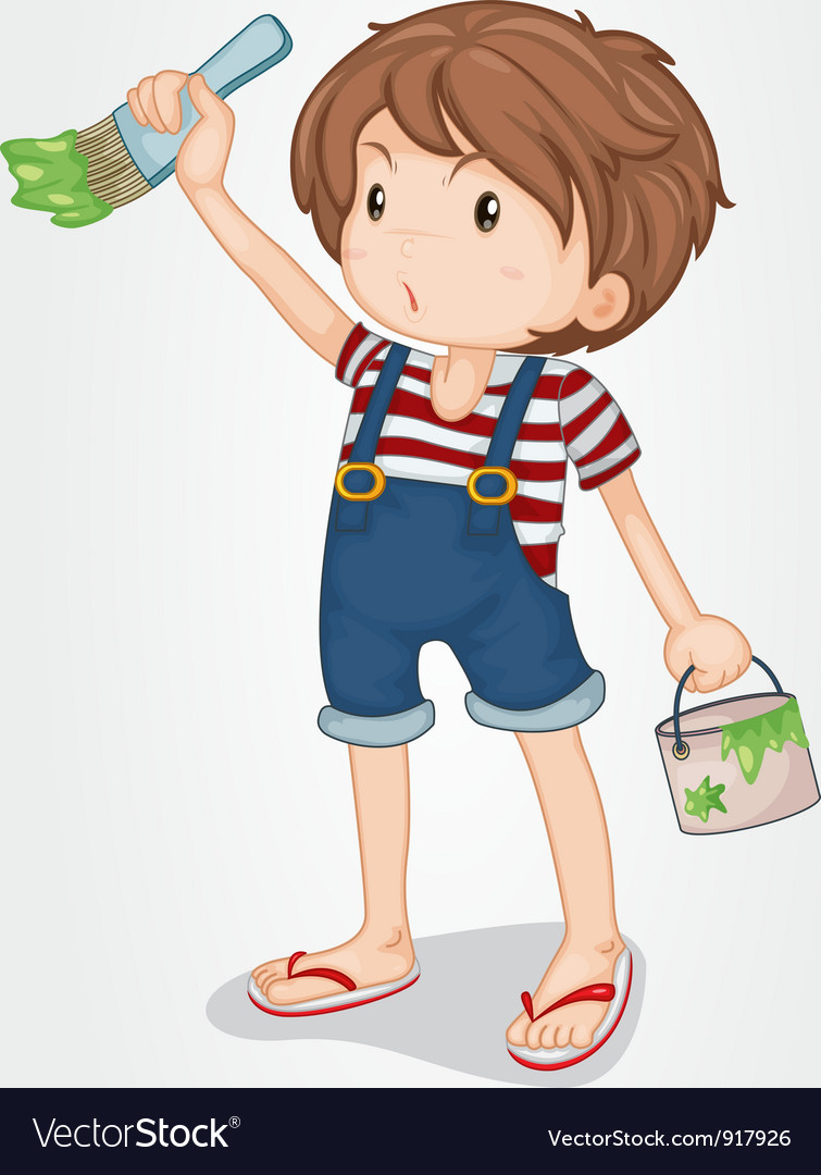Boy painting vector | Price: 3 Credit (USD $3)
