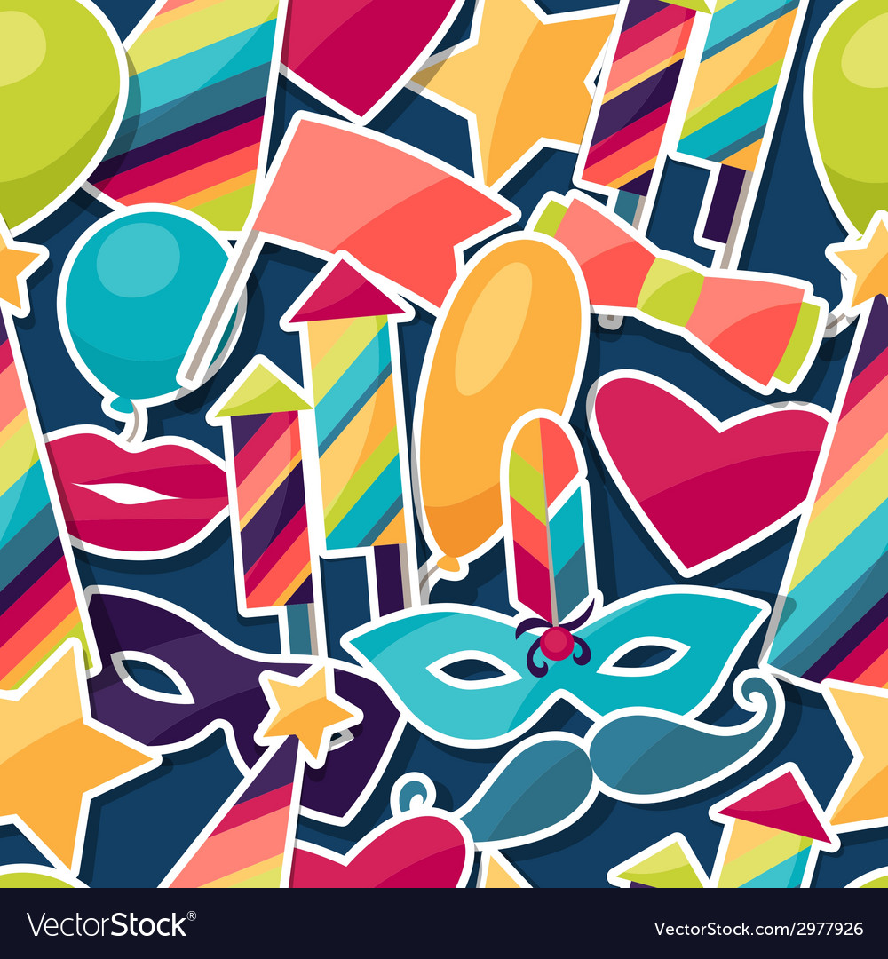 Celebration seamless pattern with carnival vector | Price: 1 Credit (USD $1)