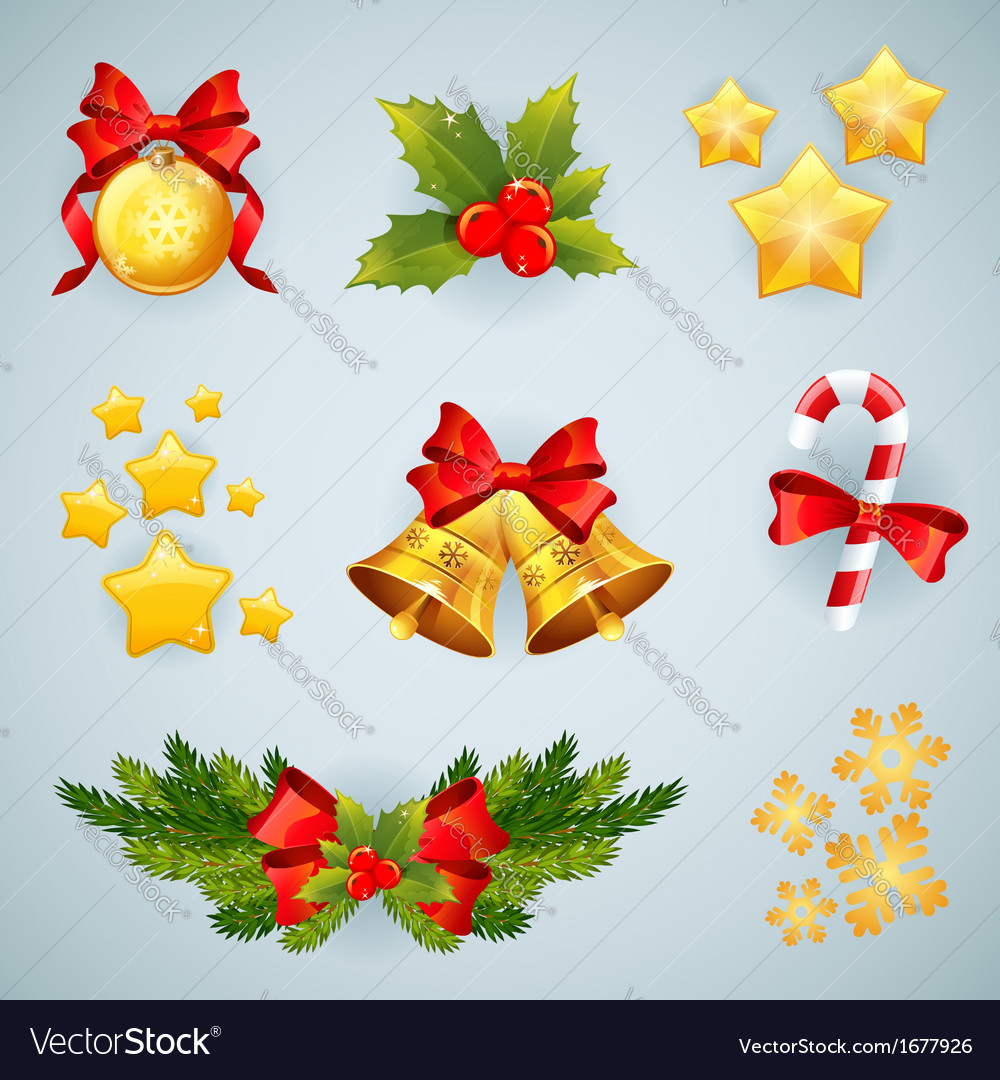 Christmas realistic festive set vector | Price: 1 Credit (USD $1)
