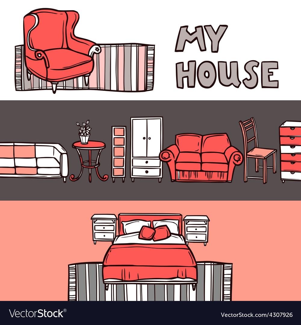 Furniture banner sketch vector | Price: 1 Credit (USD $1)