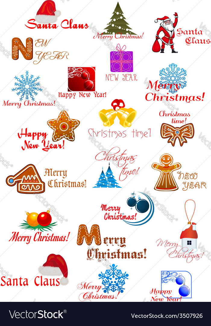 Large set with christmas ornaments vector | Price: 1 Credit (USD $1)