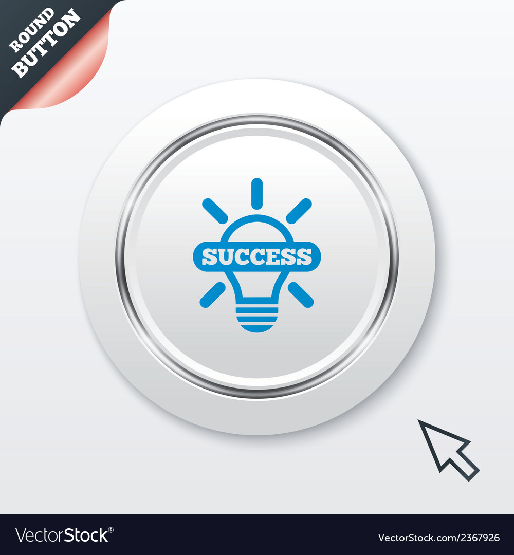 Light lamp sign icon bulb with success symbol vector | Price: 1 Credit (USD $1)
