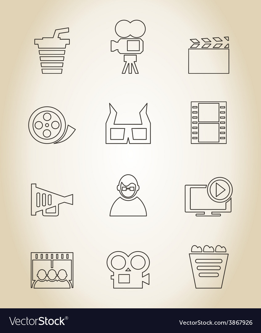 Movie outline icon vector | Price: 1 Credit (USD $1)