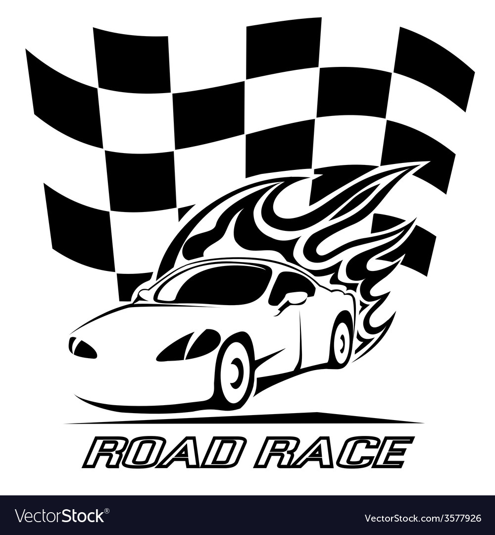 Road race poster design in black and white vector | Price: 1 Credit (USD $1)