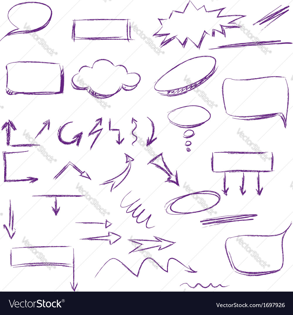 Set of many hand-drawn arrows isolated vector | Price: 1 Credit (USD $1)