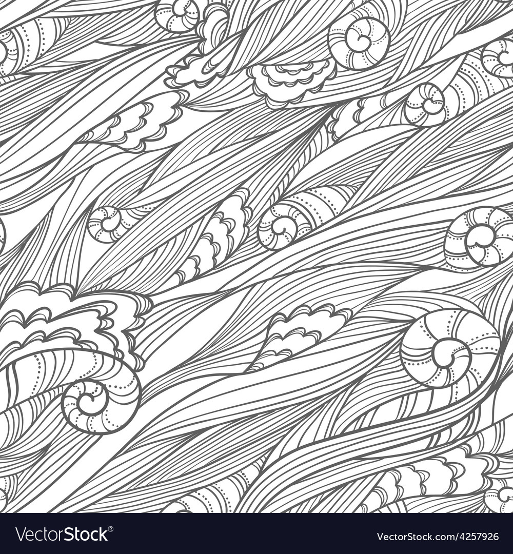 Waves doodle seamless vector | Price: 1 Credit (USD $1)