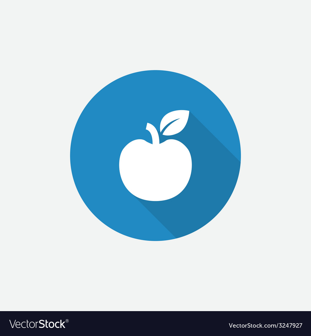 Apple flat blue simple icon with long shadow vector | Price: 1 Credit (USD $1)