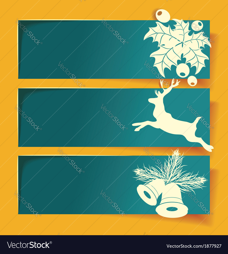 Beautiful christmas banners with reindeer vector | Price: 1 Credit (USD $1)