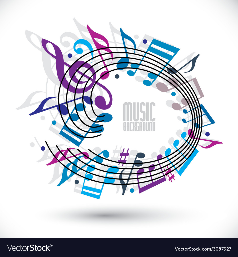 Blue and violet music background with clef and vector | Price: 1 Credit (USD $1)