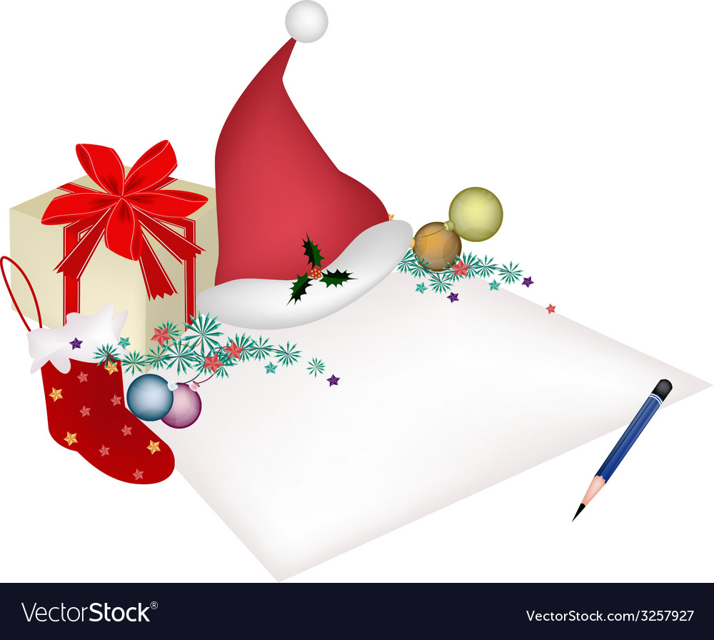 Christmas item and gift box on blank page vector | Price: 1 Credit (USD $1)