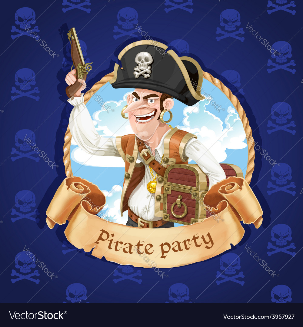 Cute pirate with a gun and big treasure chest vector | Price: 3 Credit (USD $3)