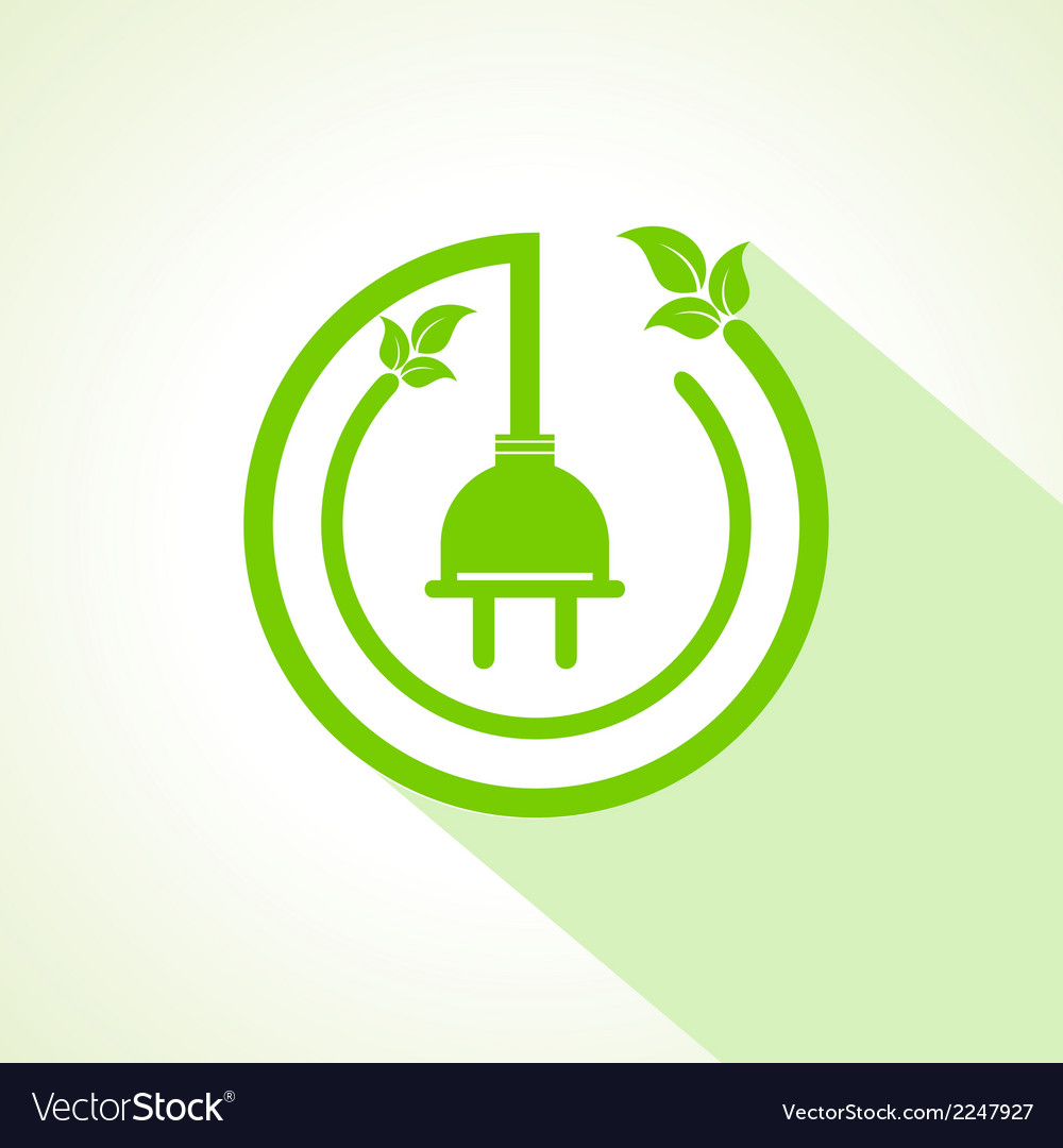 Eco electric plug with leaf vector | Price: 1 Credit (USD $1)