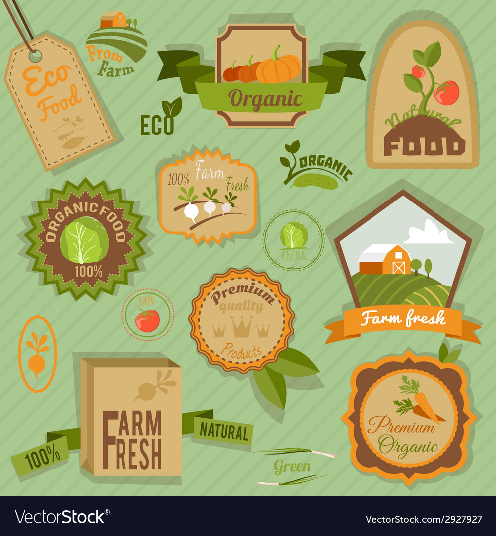 Eco labels vegetables vector | Price: 1 Credit (USD $1)