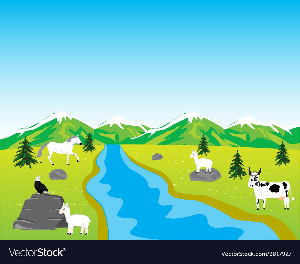 Field with animal vector | Price: 1 Credit (USD $1)