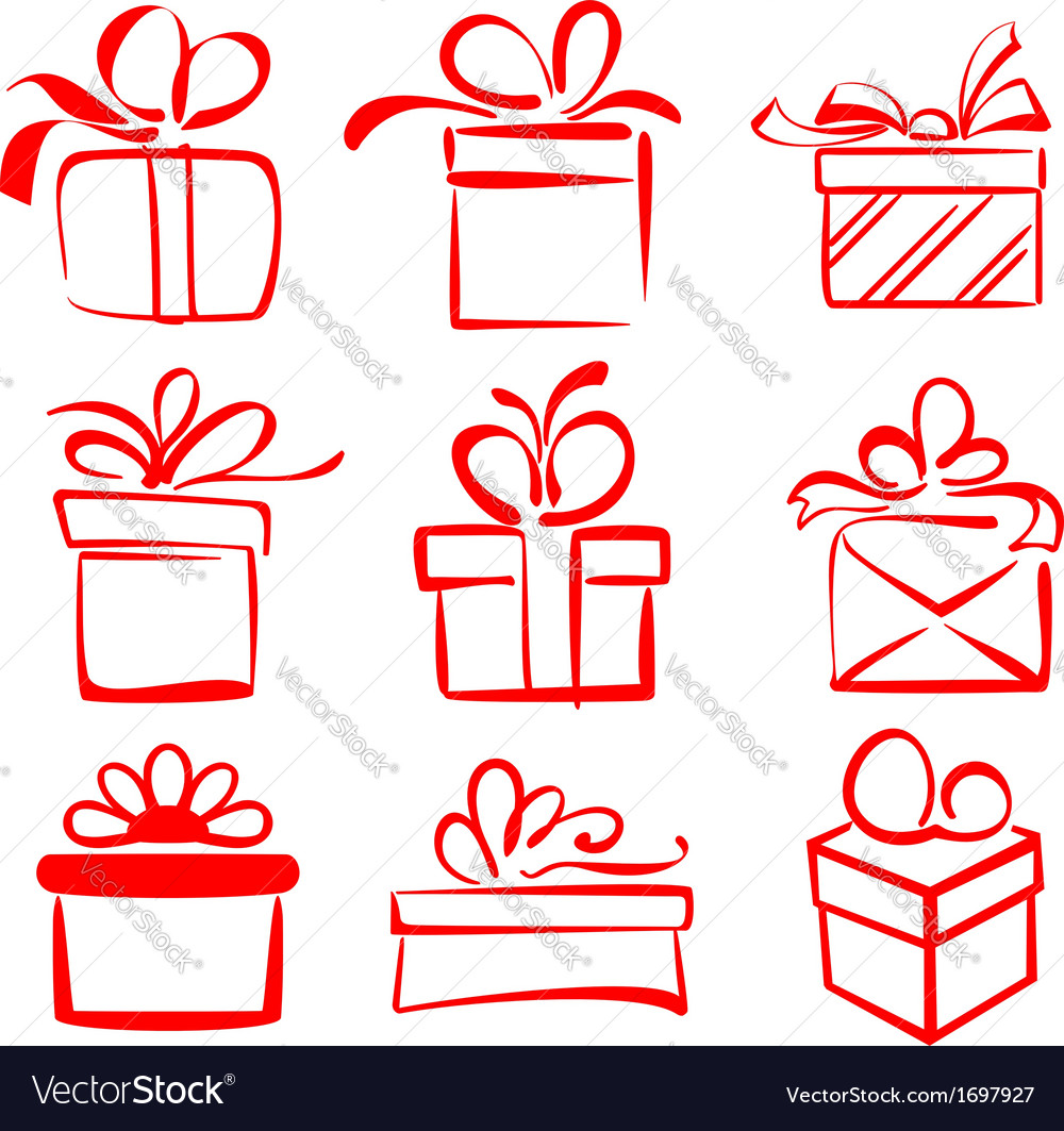 Gift boxes icon set sketch vector | Price: 1 Credit (USD $1)