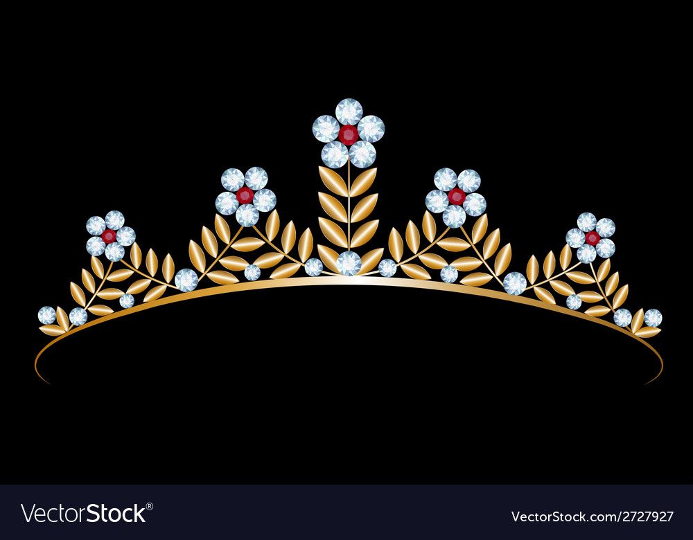 Gold tiara with diamonds vector | Price: 1 Credit (USD $1)