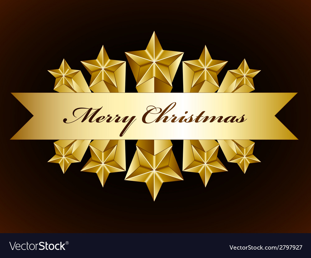 Golden merry christmas stars label vector | Price: 1 Credit (USD $1)