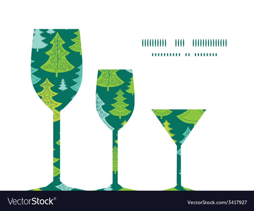 Holiday christmas trees three wine glasses vector | Price: 1 Credit (USD $1)