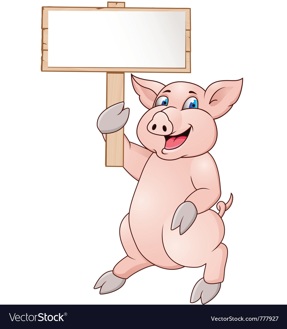 Pig with blank signboard vector | Price: 1 Credit (USD $1)
