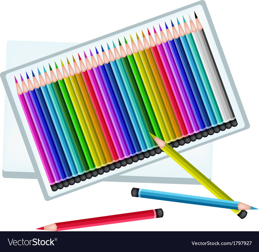 Set of colored pencils in a box vector | Price: 1 Credit (USD $1)