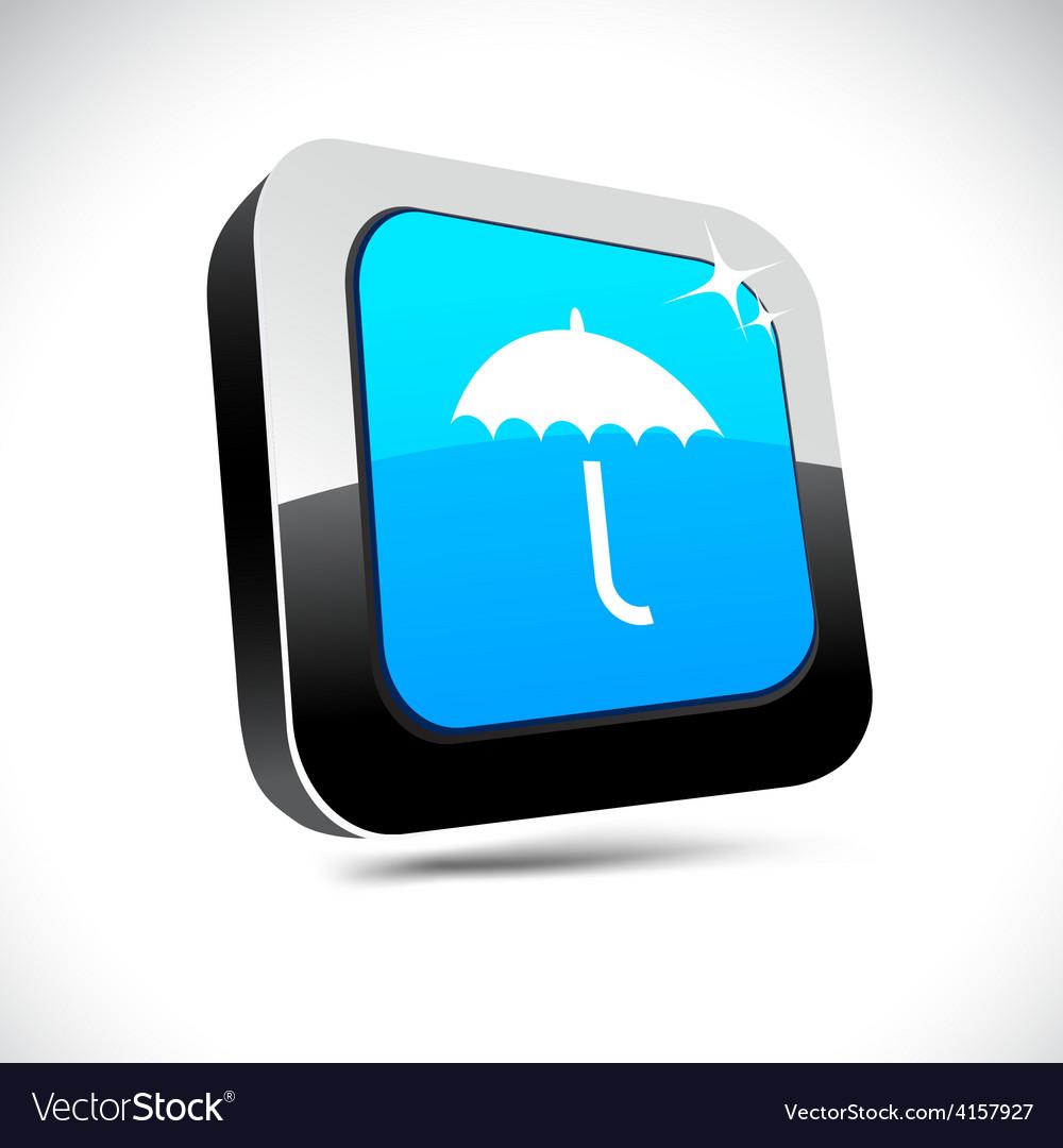 Umbrella 3d square button vector | Price: 1 Credit (USD $1)