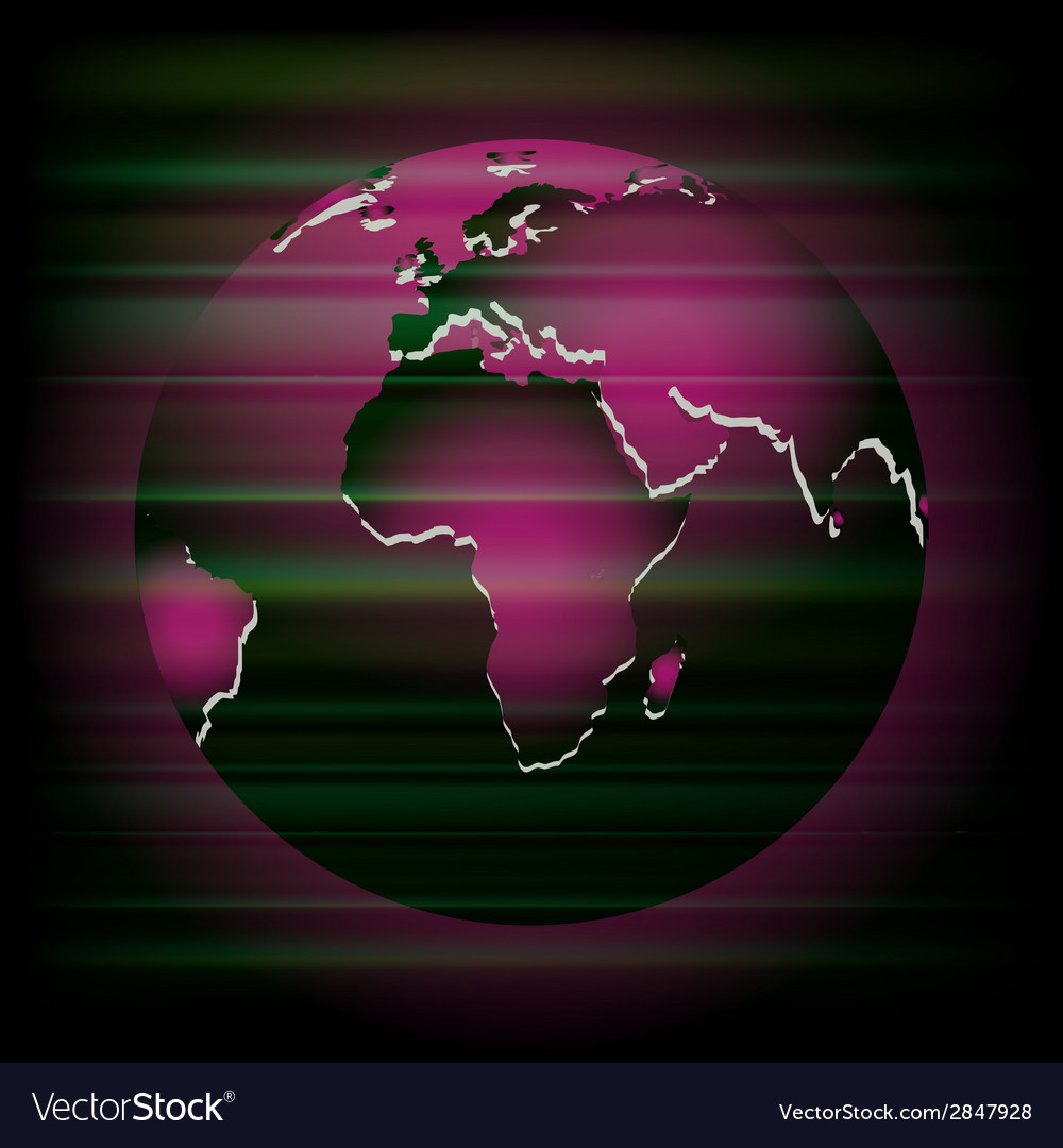 Abstract dark purple background with globe vector