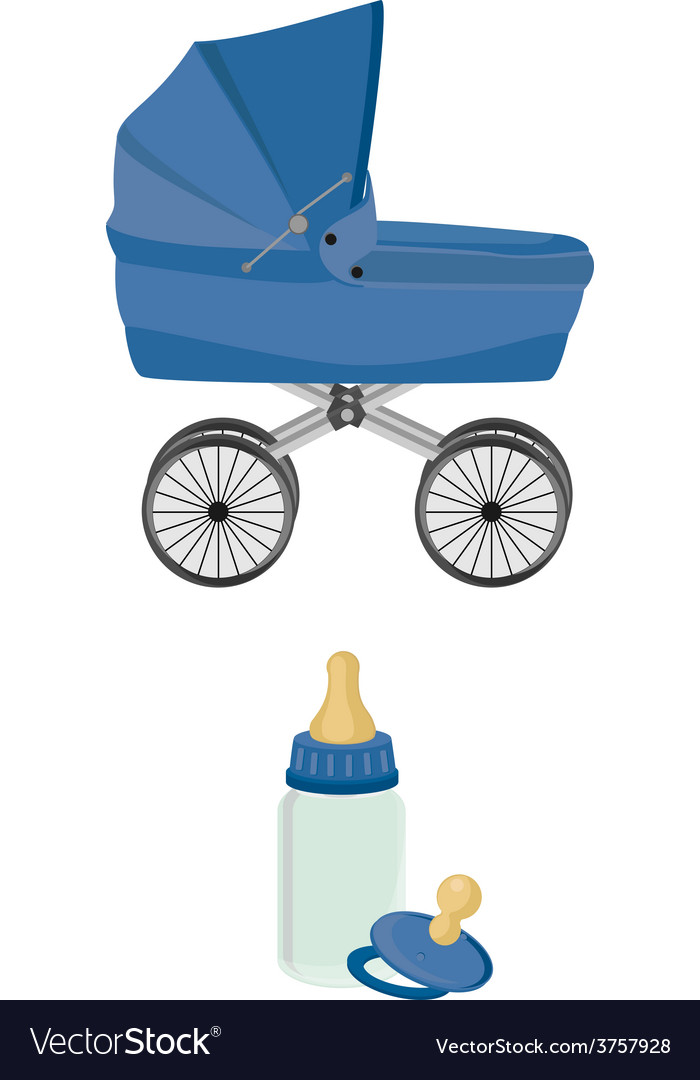 Blue baby carriage bottle and pacifier vector | Price: 1 Credit (USD $1)