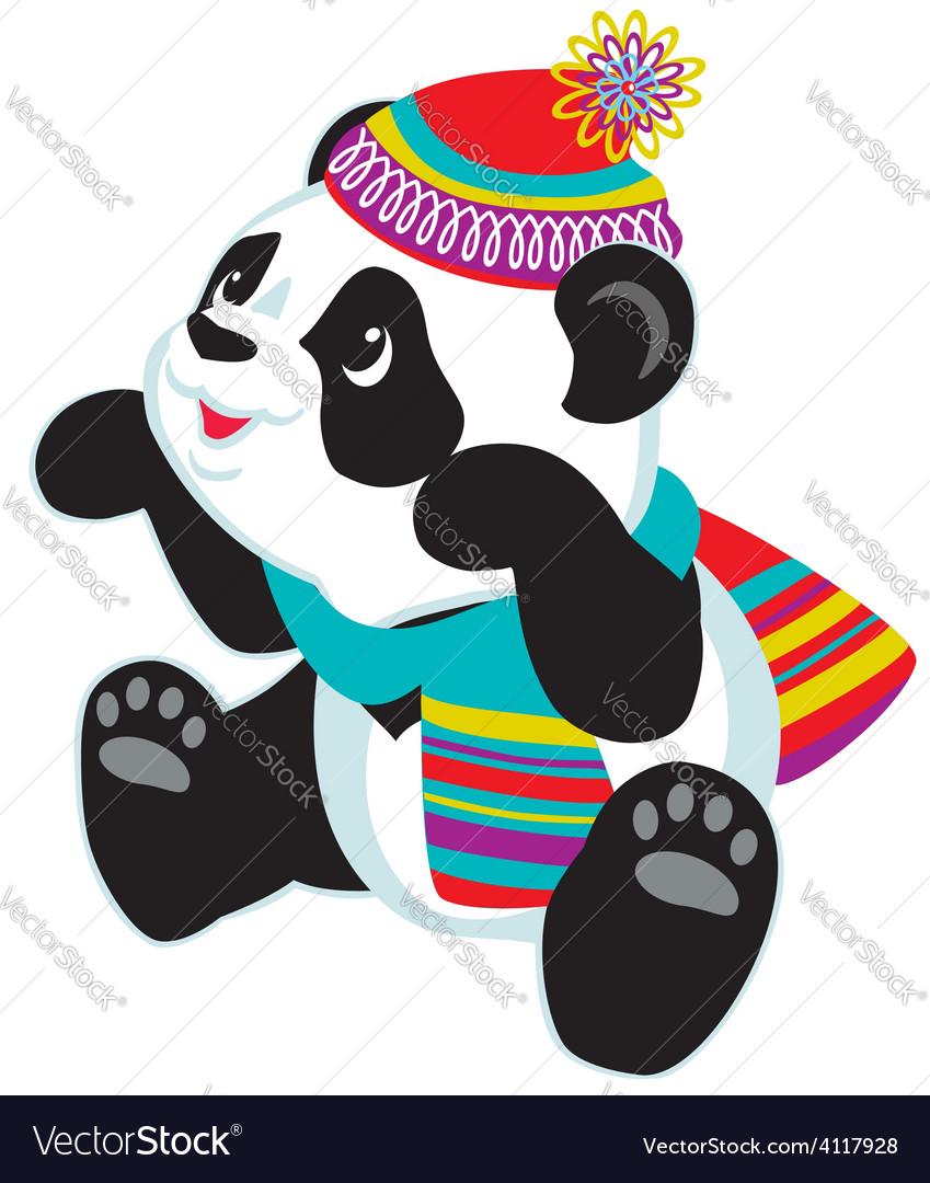 Cartoon panda wearing scarf vector | Price: 1 Credit (USD $1)