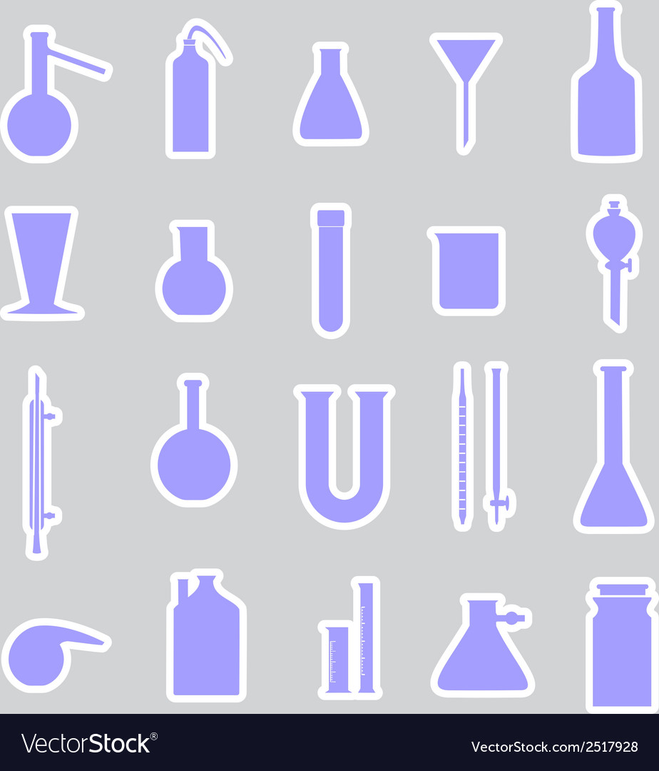 Chemistry laboratory glassware stickers eps10 vector | Price: 1 Credit (USD $1)