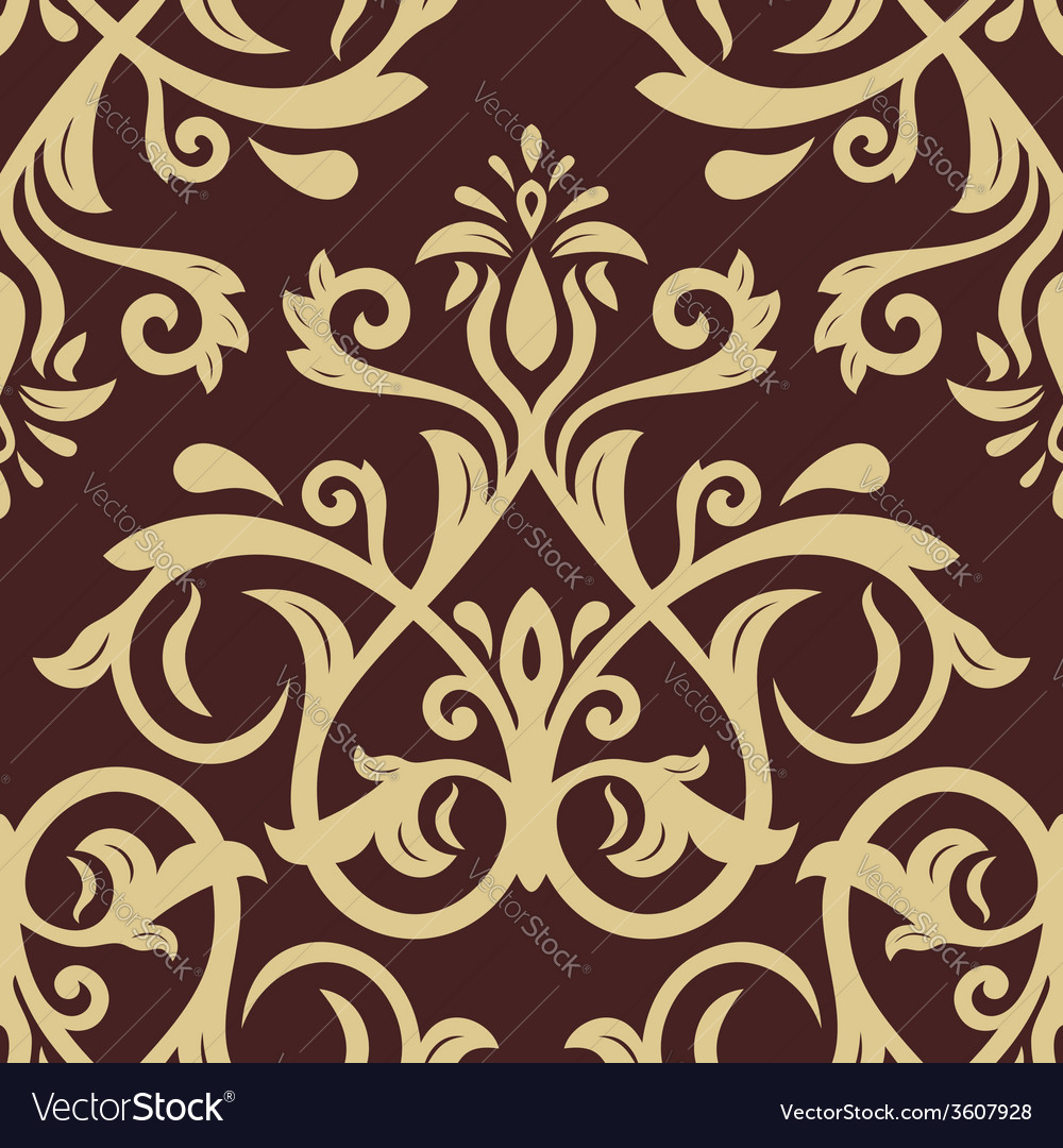 Damask seamless pattern golden background vector | Price: 1 Credit (USD $1)
