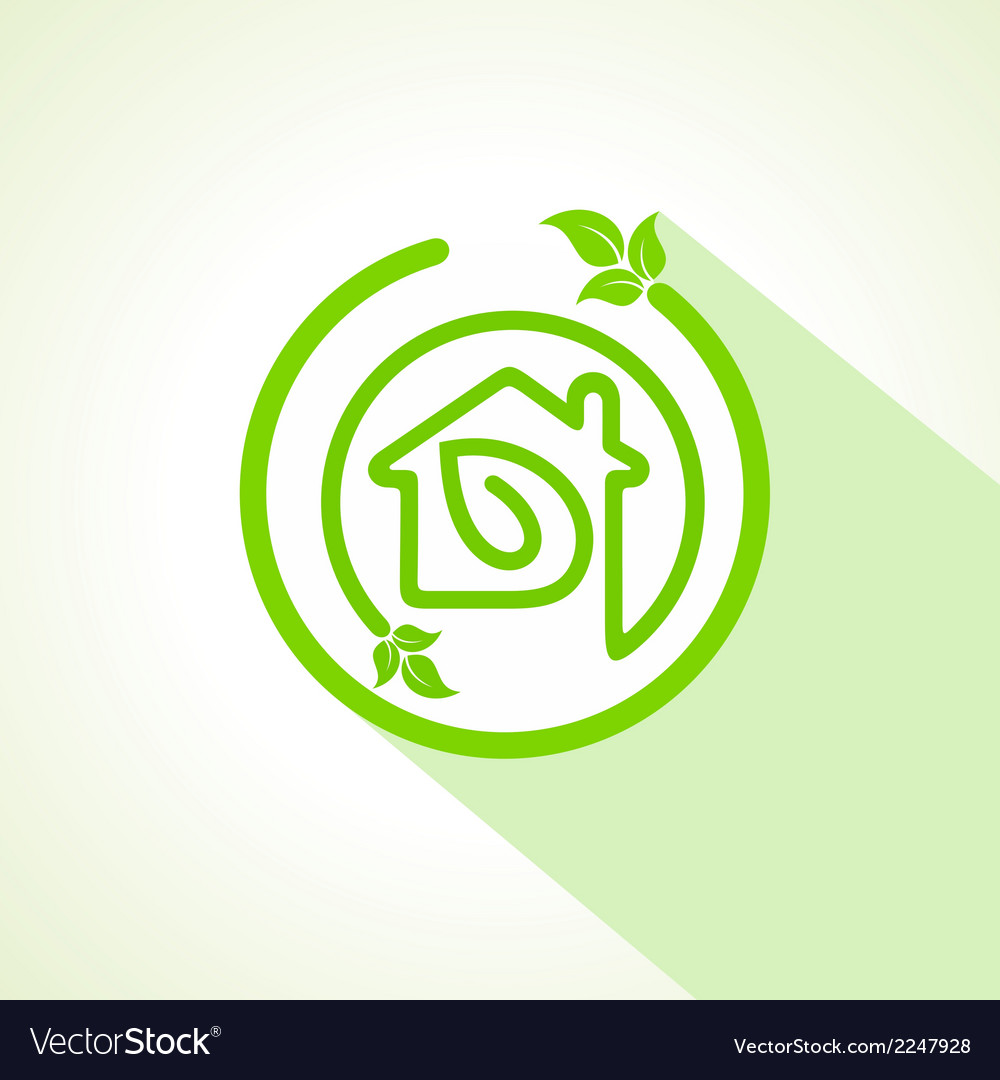 Eco home icon with leaf vector | Price: 1 Credit (USD $1)