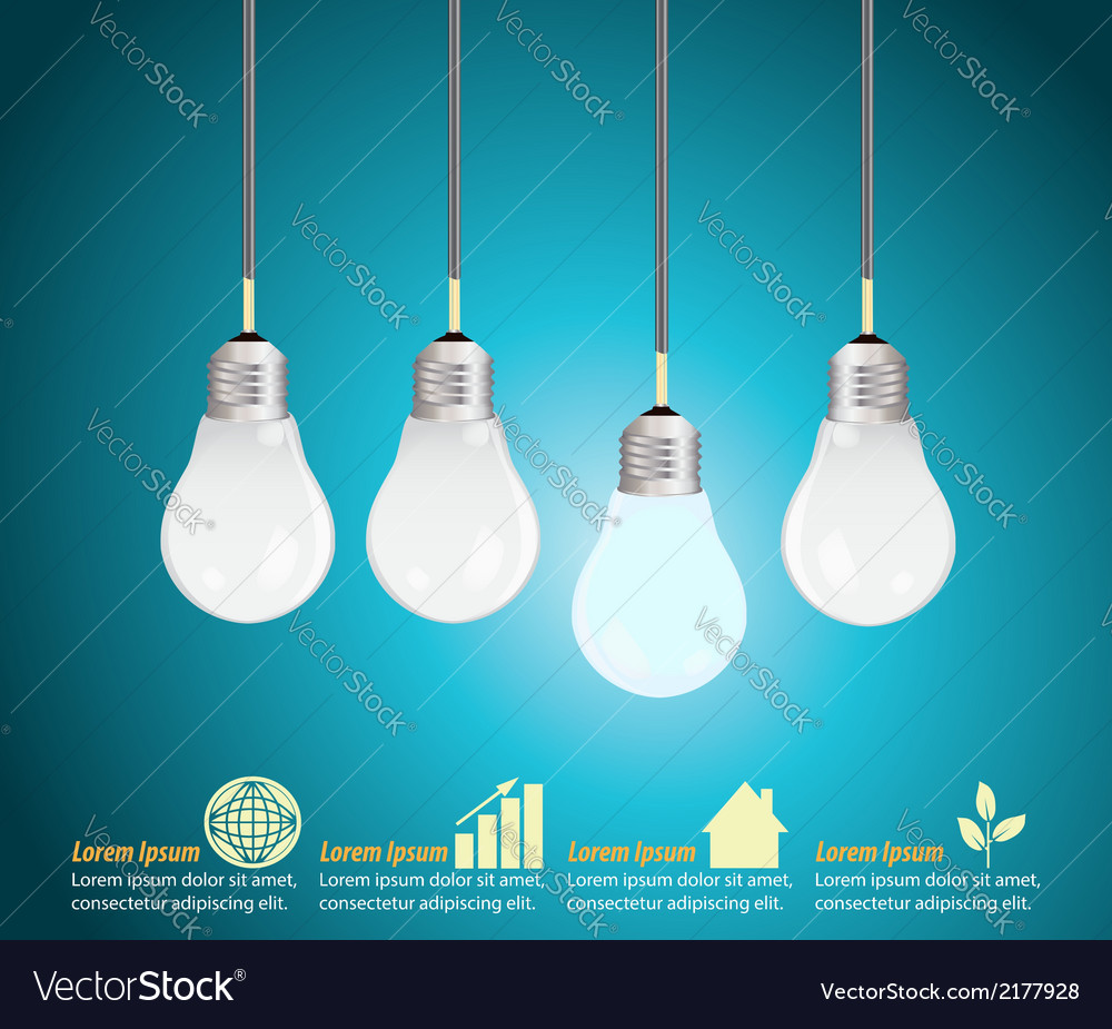 Four light bulbs hanging against blue background vector | Price: 1 Credit (USD $1)