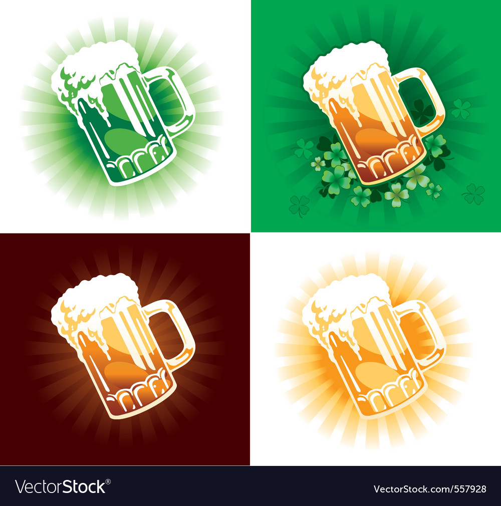 Four variation of beer tankards of stpatrick holid vector | Price: 1 Credit (USD $1)