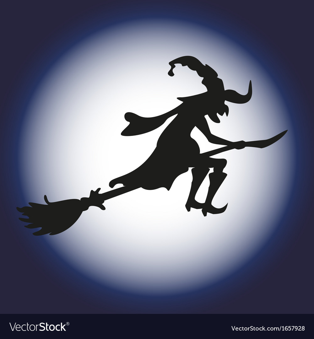 Halloween witch and moon silhouette isolated vector | Price: 1 Credit (USD $1)