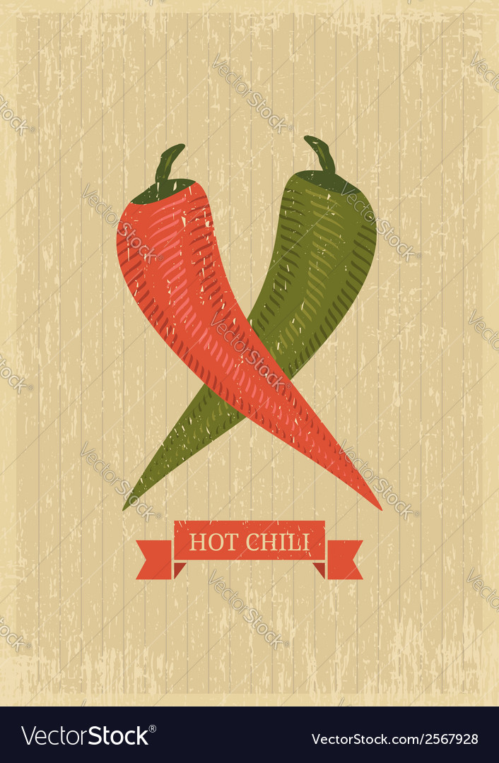 Hot chili poster vector | Price: 1 Credit (USD $1)