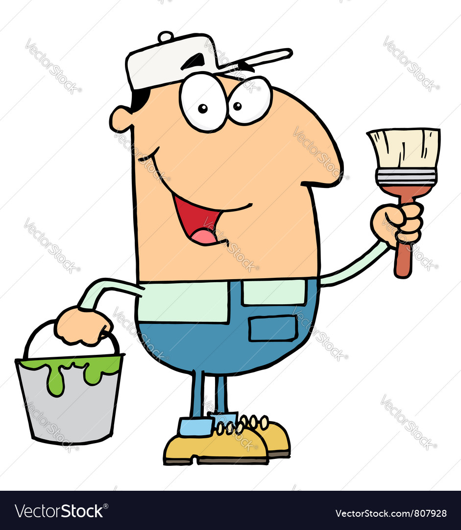 House painter holding a pail and paintbrush vector | Price: 1 Credit (USD $1)